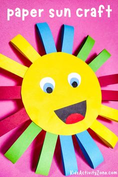 The sun is shining and times time to make bright and cheery crafts with the kids! This easy Rainbow Sun Craft is a super simple craft that uses things you probably already have in the house! It's great to let kids practice cutting things out! Sun Crafts, Baby Crafts, Toddler Crafts, Preschool Crafts, Summer Crafts For Toddlers, Fun Activities For Kids, Easy Crafts For Kids, Educational Activities, Kindergarten Art Projects