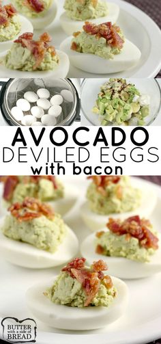 Bacon Avocado Deviled Eggs made with all the classic deviled egg ingredients, plus avocado! Creamy, flavorful and the best part is they have bacon on top. These are THE BEST deviled eggs you'll ever try! #eggs #Easter #recipe #deviledeggs #protein #keto #bacon #avocado BUTTER WITH A SIDE OF BREAD
