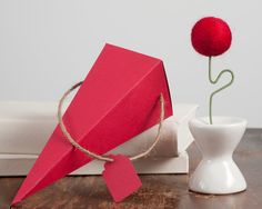 Red Flower with Matching Triangle Box and Gift Tag by meghanica, $9.00