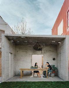 Concrete outdoor pavilion in San Francisco. Architect Todd Davies.
