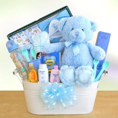 How to make a budget baby shower basket i think id like this new arrival baby boy gift basket negle Gallery