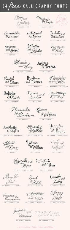 34 FREE calligraphic script fonts for hand-lettered, flowing wedding stationery! All the fonts listed below are absolutely free for personal use (some are free for commercial use, too – check the license! Wedding Invitation Fonts, Modern Wedding Invitations, Wedding Stationery, Diy Invitations, Wedding Card, Diy Wedding, Calligraphy Invitations, Wedding Ideas, Wedding Fonts