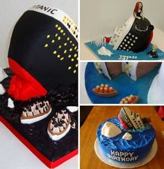 These 13 creative Titanic cakes may not be in the best of taste but judging by the amount of delicious ice- er, frosting, we'll bet they go down easy! Titanic Cake, Rms Titanic, How To Stack Cakes, How To Make Cake, Crazy Cakes, Love Cake, Birthday Cake, 7th Birthday, Party