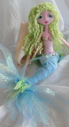 The Original KAERIE FAERIE Soft sculpture Mermaid doll, handmade in the USA