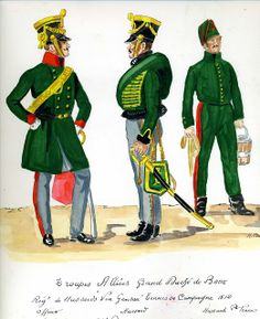 Grand Duchy Of Baden. hussar Regiment Von Gensau. Officer and Hussar in Campaign dress and a Hussar in Stable Dress 1812