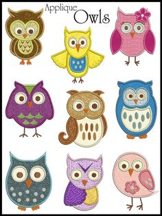 Owl Applique Machine Embroidery Design | Details about OWLS * Machine Applique Embroidery * 9 Designs, 2 sizes