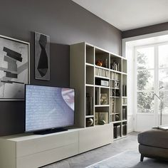 Contemporary TV unit composition Sahara by Orme, features a wooden wall mounted bookcase and 2 wooden base units 1