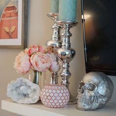 Johannas TV mantel with our Geode & Silver Skull. Both available in the shop. Link in bio to browse interior decor . Mind Map Art, Tuesday Motivation, Treat Yoself, Skull Decor, Skull Design, Life Organization, Inevitable, Candle Holders, Strong Character