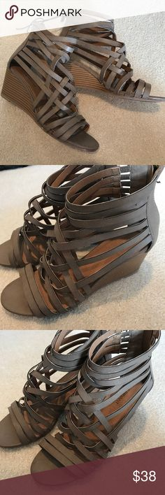 Lane Bryant strappy wedge sandals shoes 8W NEW Lane Bryant strappy wedge shoes. Sz 8W. New (never worn). Lane Bryant Shoes Wedges