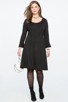 Plus Size Black Fit and Flare Seam Detail Dress - Your low maintenance MTWTF look just got a whole lot easier with this flared sleeve ponte. The 30-second outfit that still looks super polished and sophisticated. Invisible back zipper Fit and flare silhouette #PlusSizeDresses #getthelook #PlusSize #PlusSizeFashion #PlusSizeStyle #CurvyGirl #boldcurvyfashionista #curvesarein #curvesfordays #curvy #curvyfashionista #Fashion #Style #PlusSizeDresses