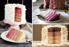 Rainbow Cake. Pink Sponge Cake. Ombre Sponge Cake. Purple Sponge Cake. Chocolate Sponge CAke  this link shows every style of WEDDING cakes you could think of. (European style)