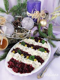 Ala piecze i gotuje: Sałatka śledziowa z buraczkami Polish Recipes, Appetisers, Appetizer Recipes, Food And Drink, Salad, Kitchen, Impreza, Christmas, Diet