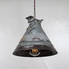 Vintage Industrial Funnel Pendant Light // Perforated Oxidized Metal Funnel w/ Cloth Covered Twisted Cord & Bakelite Plug