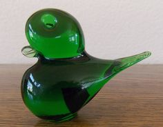 Eneryda Glasbruk Green Glass Bird on Etsy, $35.00