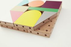 """""""Dowel blocks joined by doweling to create multiple shapes"""" by http://torafu.com/"""
