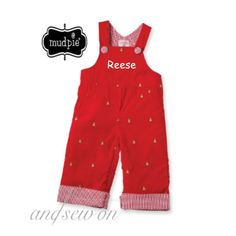 Mud Pie Monogrammed Christmas Overalls -  Facebook Sale tonight at 8:30 p.m. central!  www.facebook.com/AndSewOnBCS