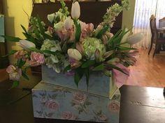 Hat Box Floral Arrangements, Tulips,  Hydrangeas, Pink Roses
