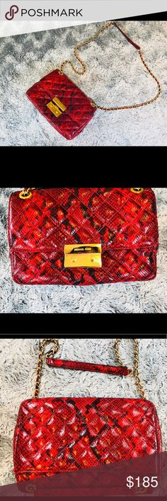 Michael Kors Sloan Red Shoulder Bag The Sloan shoulder bag is a lux, ladylike essential. Glamorous gold-tone hardware accents the tactile posh exterior, while the petite shape will complement ensembles from day to night. Selling because I'm trying to downsize my closet. Michael Kors Bags Shoulder Bags