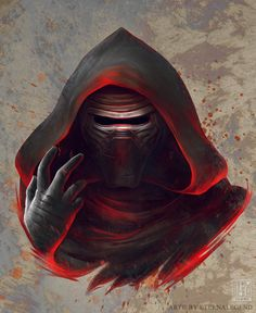 """eternalegend-art: """" Part three of my stylised Star Wars: The Force Awakens character portraits. Here is masked Kylo Ren.* - the unmasked version of him will be posted tomorrow. Star Wars Sith, Star Wars Kylo Ren, Star Wars Crochet, Star Wars Sequel Trilogy, Knights Of Ren, Starwars, Science Fiction, Dc Comics, Star Wars Images"""