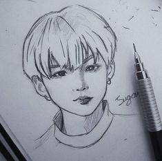 Suga Stan here?💙🌈 I love Bts . Korean Art, Cute Korean, Kpop Drawings, Kpop Fanart, K Pop, Drawing Reference, Drawing Sketches, Art Inspo, Anime Art
