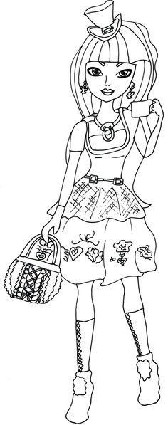 Free Printable Ever After High Coloring Pages: Cerise Hood Hat-Tastic Ever After High Coloring Page