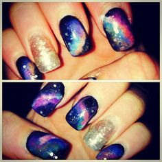 DIY galaxy nail design