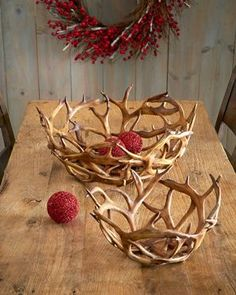 K&K Interiors Inc. Faux-Antler Bowls, Set - rustic home decor shelves - Rustic Lodge Decor, Hunting Cabin Decor, Ski Lodge Decor, Rustic Cottage, Hunting Gear, Hunting Equipment, Deer Antler Crafts, Antler Wreath, Deer Antler Jewelry