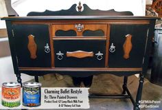 This gorgeous buffet was refinished by Three Painted Drawers, https://www.facebook.com/pages/Three-Painted-Drawers/335484056608764?fref=ts, with General Finishes Lamp Black Milk Paint, Nutmeg Gel Stain and High Performance Top Coat in flat.