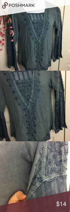Boho Blue Blouse Beautiful embroidered blouse. Like new! It is missing the size tag but it is an XL. I know because my mannikin is a 1X and it was a little tough getting it on her! Happy to provide measurements upon request. Tops Blouses