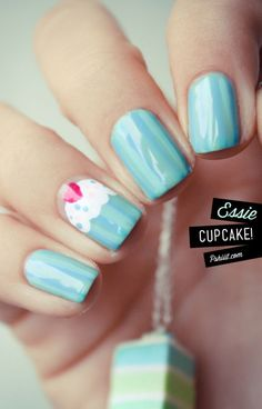 Teal Striped Nails With Cupcake Nail Art