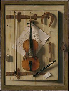 William Michael Harnett (1848–1892)    Still Life—Violin and Music    America, 1888   Oil on canvas, 101.6 x 76.2 cm   Metropolitan Museum of Art, 63.85