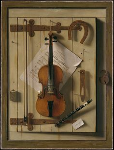 Still Life - Violin and Music, William Michael Harnett  (1848–1892), 1888, Oil on canvas. The Metropolitan Museum of Art, NY. - Pinterest