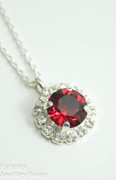 Ruby crystal necklace,pendant necklace,red crystal necklace,ruby necklace,ruby anniversary,july birthstone,birthstone jewelry,gift for her