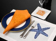 Anali Starfish . Embroidered Placemats . Embroidered Napkins . Decorative Napkins . Placemats . Table Runners . Cafe Towels