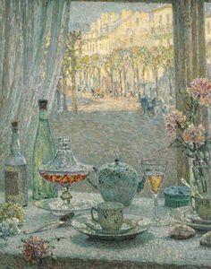 """La Table Pres de la Fenetre, Reflets"" by Henri Le Sidaner"