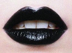 Black lips- a new found love for violet! she uses YSL black lip gloss to top off a mat black lipstick. Black Lipstick, Liquid Lipstick, Red Lips, White Lips, Glossy Lips, White Teeth, Pink Lips, Yennefer Of Vengerberg, Animated Gifs