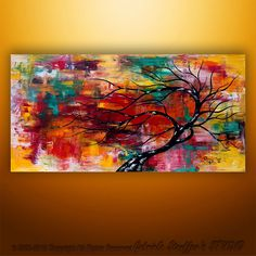 Modern Abstract Painting Art Original Landscape Tree Palette Knife by Gabriela 48x24 Large