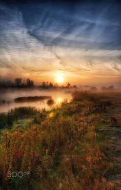 First day of autumn: a sunrise by Marcin Piontek on 500px ....... A sunrise over  Pilica river in Poland.
