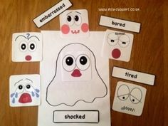 Halloween emotion face and cards - Item 77 - ELSA Support Colors And Emotions, Feelings And Emotions, Emotions Preschool, Vocabulary Flash Cards, Emotion Faces, Halloween Week, Pre K Activities, Social Thinking, Kids Education