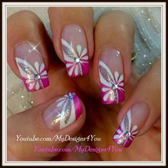 Floral Pink Nail Art Spring-Summer Nails by Liudmila Z Fingernail Designs, Acrylic Nail Designs, Nail Art Designs, Pedicure Designs, Acrylic Nails, Pink Nail Art, Floral Nail Art, Fancy Nails, Trendy Nails