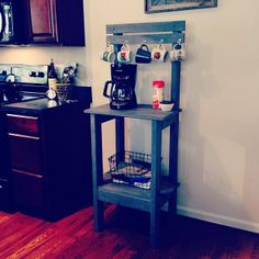 Our DIY Coffee station  @Jessica Landrum blaise might could make this for us! But I do like the shorter, longer one better!