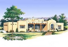 Eplans House Plan: This classic stucco design provides a cool retreat in any climate. From the covered porch, enter the skylit foyer to find an arched ceiling leading to the central gathering room with its raised-hearth fir Spanish Style Bathrooms, Spanish Style Homes, Spanish House, Spanish Bungalow, Spanish Colonial, Santa Fe Home, Southwestern Home, Southwest Decor, Adobe House