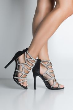 af90734fa92 AKIRA Label PU Embellished Studded Design High Stiletto Heel Caged Strappy  Zip Up Shaft Open Toe Sandals in Silver