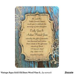 "Vintage Aqua Gold Old Barn Wood Vine Swirl Wedding 5"" X 7"" Invitation Card"