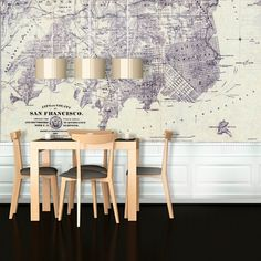 Love this idea. Print a large map of your city and use as wallpaper | Map of San Francisco 1861 Wallpaper at Hayneedle #DIY #enviornmental