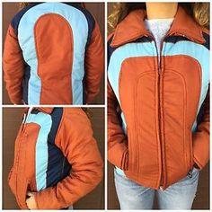 1dc3d36baf Vintage 70 s Ski Jacket Women s Size M Brown   Blue Hipster Ski Coat Jacket