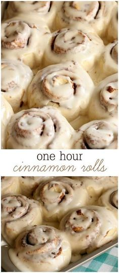 Easy Cinnamon Rolls Delicious One Hour Cinnamon Rolls with cream cheese frosting. These rolls are super soft and take no time making them irresistible! Delicious Desserts, Dessert Recipes, Yummy Food, Donut Recipes, Brunch, Rolls Recipe, Food To Make, The Best, Food And Drink