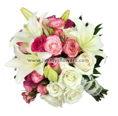 Bridal bouquet-clutch style-white and pink flowers. Utah wedding flowers.