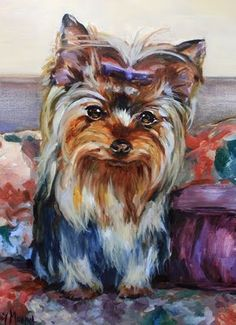 Step by Step Yorkie Pet Portrait by Texas Artist Nancy Medina, painting by artist Nancy Medina