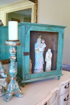 Vintage Wood Turquoise Cabinet Country French by edithandevelyn, $125.00
